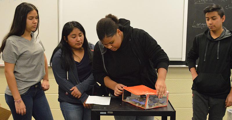 From left, Andrea Rosales, Michaela Velasquez, Amber Clark and Angel Loeza present their prototype