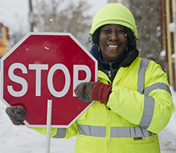 "Crossing Guard Kattie Eason says she wouldn't leave her crossing guard post, even after 50 years, ""because I keep gettin' more kids that I love"""