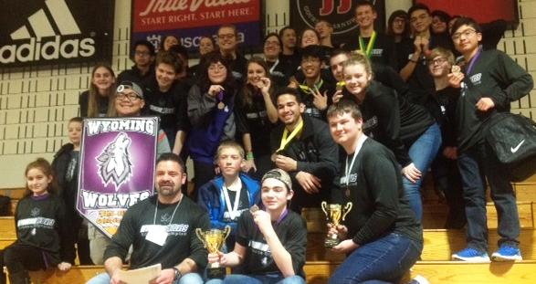 The Wyoming Science Olympiad team poses with their trophies