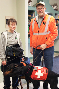 Members of Michigan Search and Rescue demonstrated to students how trained dogs help find missing people (courtesy photo)