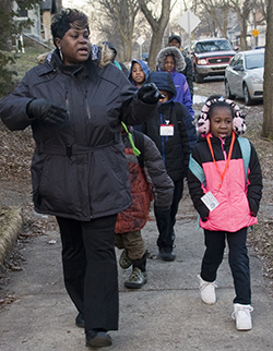 Walking together to school is good for students' health and shows them adults care, says organizer Cynthia Jackson