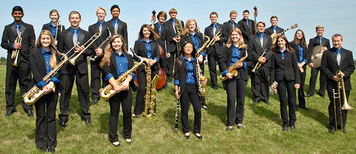 All dressed up and ready to play, the Byron Center Jazz Orchestra has an exciting semester ahead