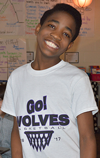 Toussaint Melchsedek, a refugee student from the Congo, is known around school for his big smile