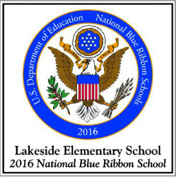 The Blue Ribbon Emblem hangs in Lakeside's main hallway