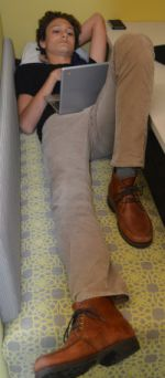 Freshman Luca Massara finds a comfy spot to study Latin