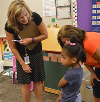 Wyoming's West Elementary teacher Julie Merrill meets a student for the first time