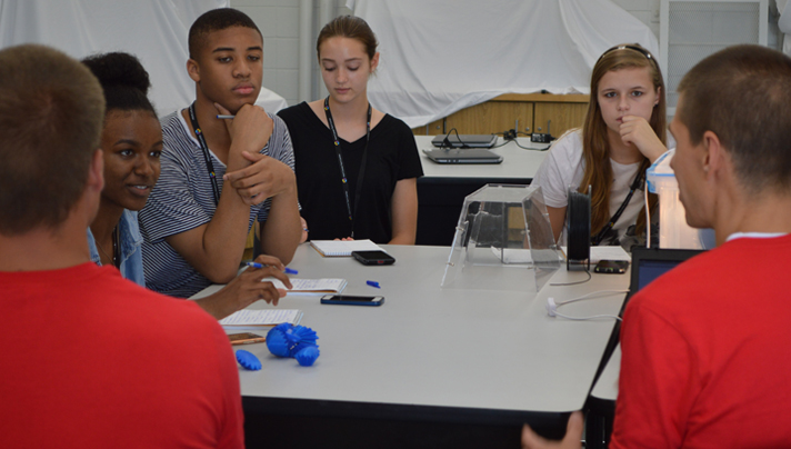 Student reporters pick the Design Lab instructor's brains