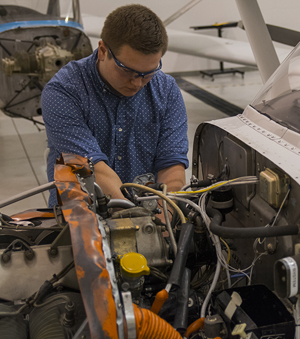 Nolte Cunningham learned to maintain and repair aircraft engines like this one at Gerald R. Ford International Airport