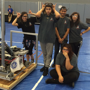 Several of the Robotics team members are girls. They competed at a girls-only event