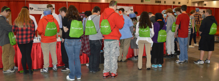 Students crowd the pharmaceutical area at MiCareerQuest 2016