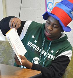 Jimel Davis reads to Bowen students