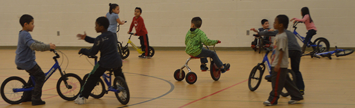 The gymnasium turned into a Strider bike-a-thon