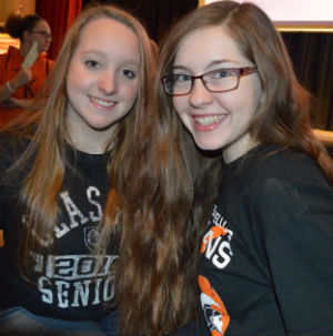 Seniors Hailey Strimpel and Heather Price were geeked about service day