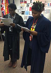 Students perform Oedipus Rex in costume