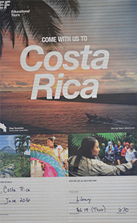 Posters on the classroom walls invite students to travel abroad with Rybarczyk