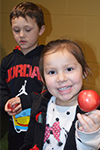 Students all received an apple from the Michigan Apple Queen