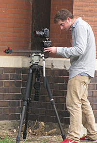 Nathan shoots a school bond video (cr. Julie Makarewicz of the Middleville Sun and News)