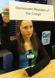 A student represents Democratic Republic of the Congo