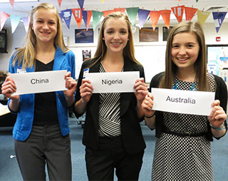 East Grand Rapids High School juniors Annalise Brinks, Kate VerMeulen and Emily Livermore recently started a Model UN Club at their school