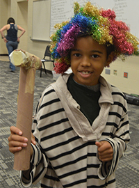 Third-grade student Isaiah Predman plays a pirate