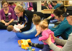 Physical Therapist Kathy Harris an activity that stimulates cognitive development at Early On