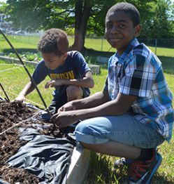 West Kelloggsville third grade students Jakhary Towns and Cynsere Walker get to work