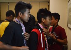 Crestwood Middle School students check themselves out in a mirror