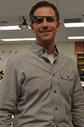 East Grand Rapids psychology teacher Brandon Oldenbroek wears Google Glass