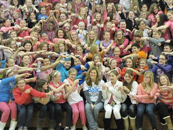 Students show support for their teacher Deb Balk