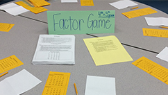 A math game set up to play