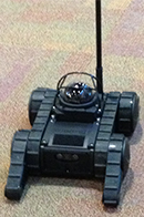A remote controlled talking robot piloted by officers and students made its way around the Leadership Conference