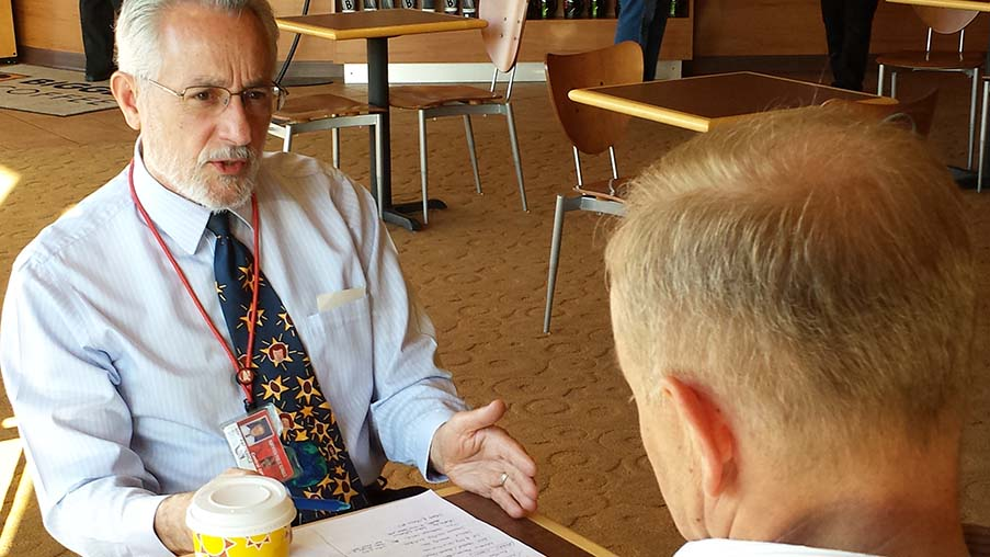 Mike Paskewicz holds an early morning meeting with Timothy Detwiler, president of the Northview Board of Education