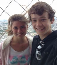 David Tay and Raphaelle Lhospice atop the Eiffel Tower