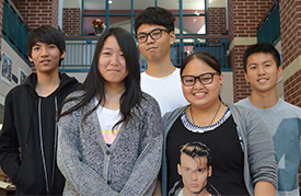 From left, visiting Chinese students at Rockford High School are Irving Zheng, Misy Shi, Danny Chan, Zany Zou and Chris Chen