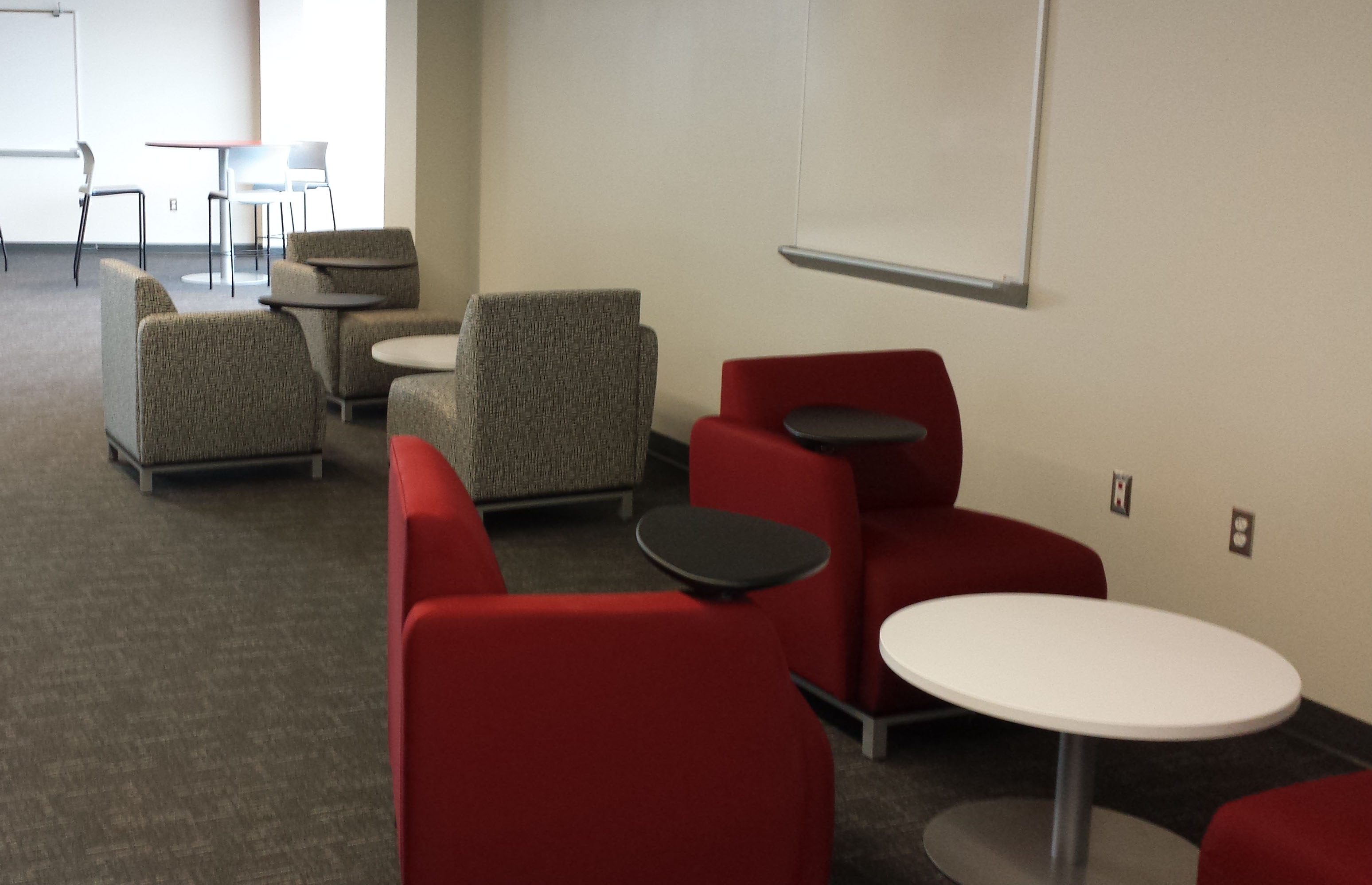 A lobby off the language classrooms provides space for students to study together, practice their vocabulary or make up tests