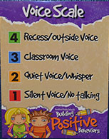 Signs throughout the building remind students of the voice scale and other positive behaviors