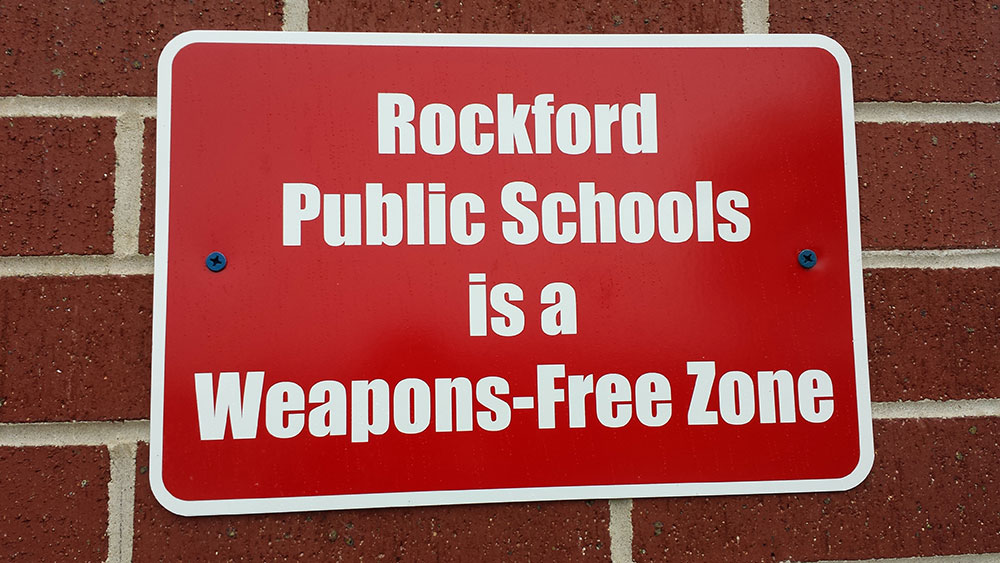 This sign is posted at the entrance of Rockford High School