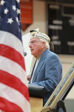 World War II veteran Herb Elfring spoke to students about being at Pearl Harbor when it was attacked