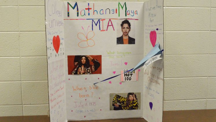 "Students created in-depth research pieces on American figures who come from immigrant and refugee backgrounds, like Mathangi ""Maya"" Arulpragasam, or ""M.I.A."