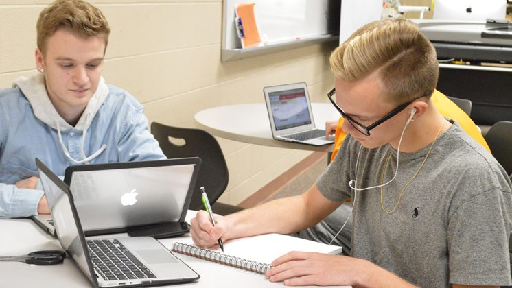 Seniors Nick Stambaugh, left, and Dillon Schmitt use Flex Time to get work done