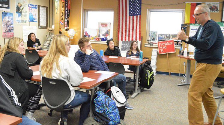 Social studies teacher Randy Cotts uses Flex Time for enrichment, an informational session on a Close Up Foundation trip to Washington, D.C.