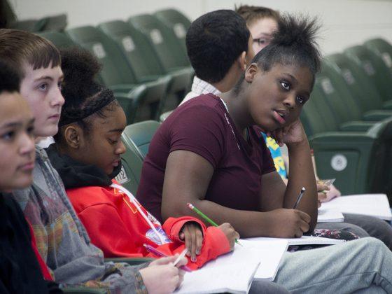 Valleywood seventh-grader Tanazya Freeman soaks it all in at The Diatribe poetry workshop