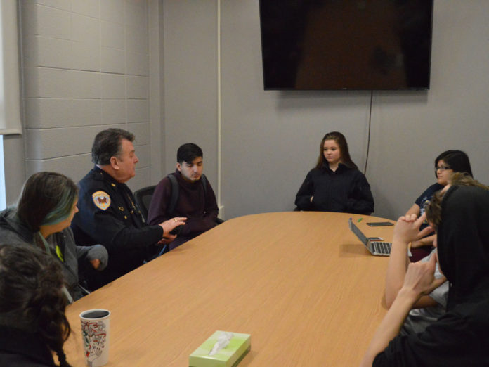 Godwin Heights is among four high schools where Chief Carmody meets with students