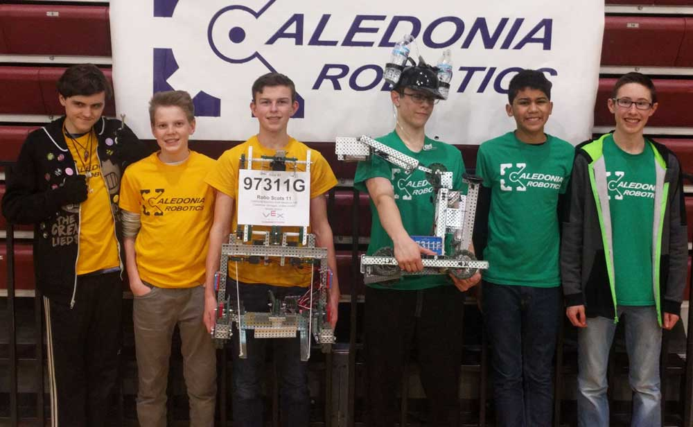 The eighth-graders from the Caledonia Middle School robotics teams, from left: Maxwell Frejeris, Philip George, Grant Peek, Thomas Munson, Zac Eggleton and Colin Pearson