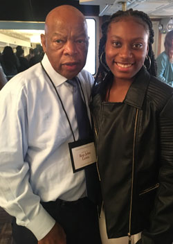 Aliya Hall and civil rights leader Rep. John Lewis of Georgia (photo courtesy of the Creative Youth Center)