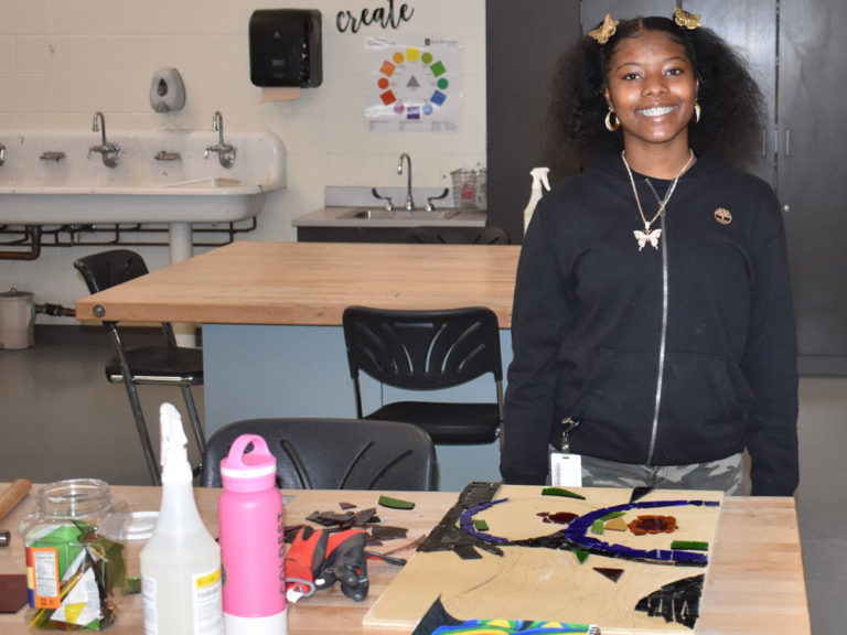 Students learn resilience by piecing together art