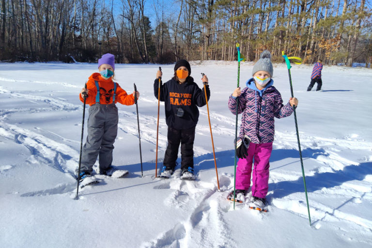 Students hike to explore wonders of winter at Camp Rockford