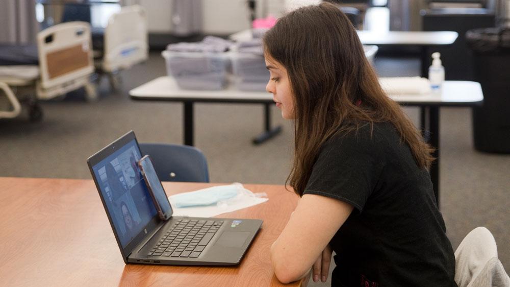 Health Career Foundations student Jasmin K. Landero-Mottus, 11th grader at Lee High School, participates in the first-ever virtual version