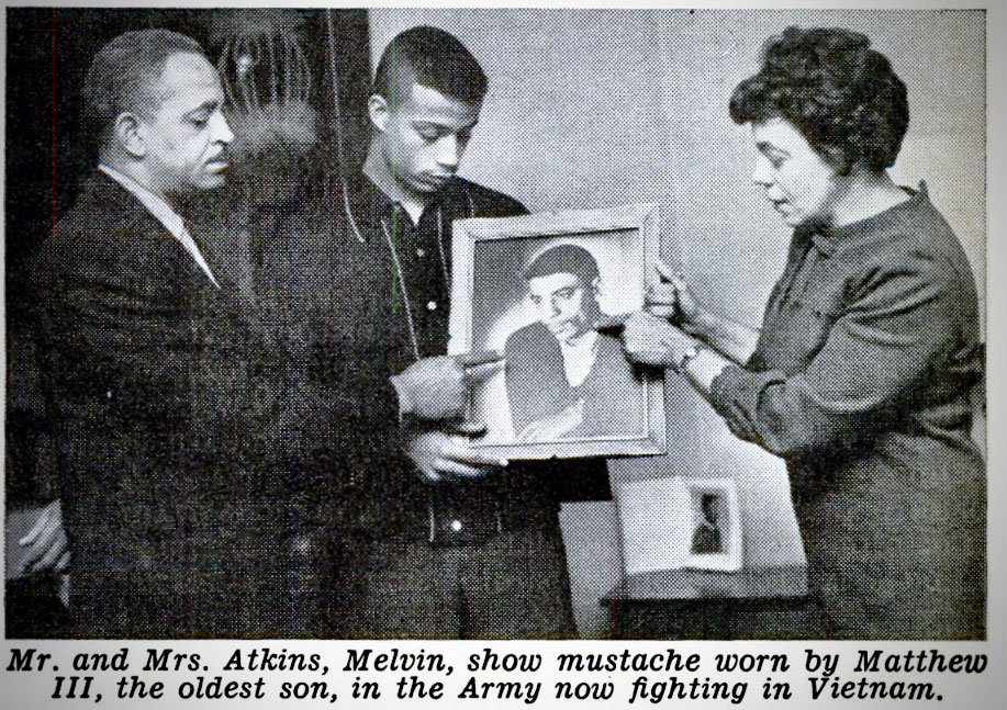 Taken from a 1966 story in Jet magazine, this photo shows Mel Atkins, second from left, and his parents looking at a photo of his brother, Matthew III, who was the first Kent County soldier killed in Vietnam. Although Matthew was allowed to wear a mustache in the service, the article pointed out, students like Mel Atkins at South High School were not until protests overturned the policy