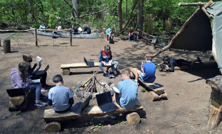 Campsite classroom lets children learn in and from nature